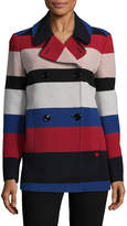 Love Moschino Women's Striped Double Breasted Coat