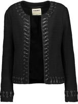 L'Agence Devereaux Faux Leather Whipstitch-Trimmed Bouclé Jacket