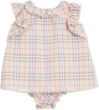 Burberry ruffle trim checked two-piece set