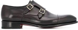 Santoni Double Buckle Pointed Toe Loafers