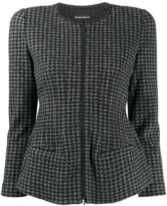 Emporio Armani Fitted Houndstooth Pattern Jacket