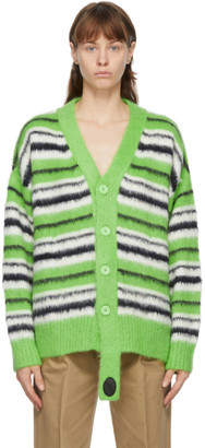 we11done Green Mohair Stripe Knit Cardigan