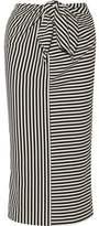 Tibi Ren Tie-Front Striped Cotton-Blend Jersey Midi Skirt