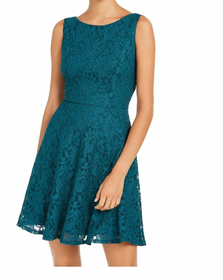 Speechless Womens Green Lace Zippered Sleeveless Jewel Neck Short Fit + Flare Dress UK Size:16