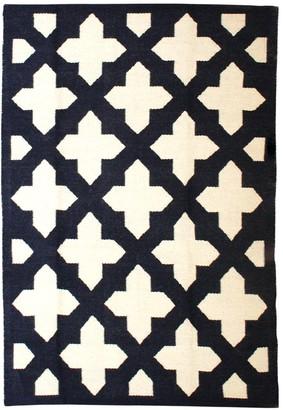 Jonathan Adler Navy Talitha Reversible Peruvian Flat Weave Rug
