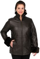 Women's Excelled Cuffed Leather Scuba Jacket
