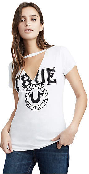 True Religion TR CREST CUT OUT V TEE
