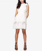 Rachel Roy Ruffled Embroidered Fit & Flare Dress