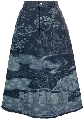 RED Valentino Patterned Mid-Length Denim Skirt