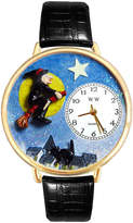 Whimsical Watches Personalized Halloween Witch Womens Gold-Tone Bezel Black Leather Strap Watch