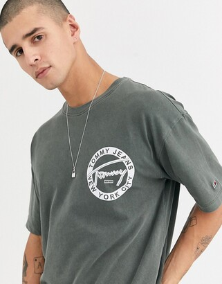 Tommy Jeans circular signature logo t-shirt in washed olive-Green