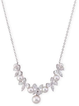 Nadri Rhodium-Tone Floral Cluster Pendant Necklace