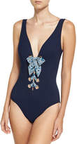 Karla Colletto Iris Silent Underwire Lace-Up One-Piece Swimsuit