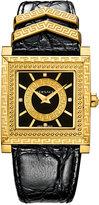 Versace Women's Swiss DV25 Diamond Accent Black Leather Strap Watch 30x30mm VQF02 0015