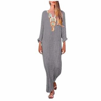 NEEDRA SALES Dresses Womens Printed Long Sleeve V-Neck Maxi Dress Split Hem Baggy Kaftan Long Dress (Grey B UK 16(XXL))