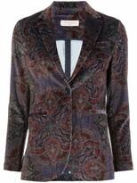 Thumbnail for your product : Circolo 1901 Velvet-Effect Paisley-Print Blazer