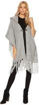 Steve Madden Fuzzy Knit Poncho Style Hooded Ruana Women's Coat