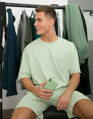 ASOS DESIGN pyjama short and tshirt set in colour drench green