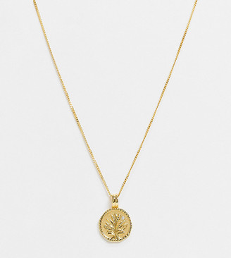 Astrid & Miyu blossom coin pendant necklace in 18ct gold plated