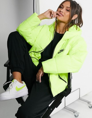 Nike padded jacket with back swoosh in neon yellow