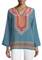 Tolani Mona V-Neck Printed Border Tunic, Denim