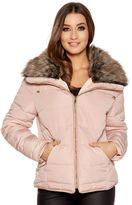 Quiz Pink Padded Faux Fur Collar Zip Jacket