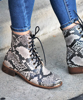 BEIGE Mata Shoes Women's Casual boots  Snake-Embossed Aurora Ankle Boot - Women