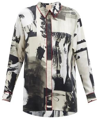 Roksanda Lyn Abstract-print Silk-satin Blouse - Black Multi