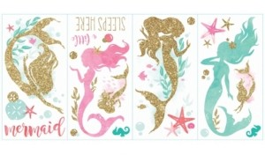 York Wall Coverings Mermaid with Glitter Peel and Stick Wall Decals