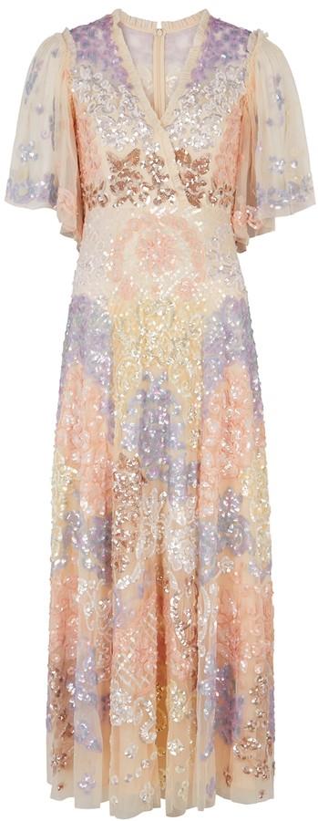 Needle & Thread Eliza sequin-embellished tulle maxi dress