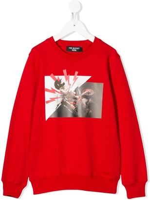 Neil Barrett Kids Crew Neck Photographic Print Sweater