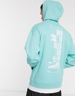 ASOS DESIGN longline double layer hoodie in blue with back print