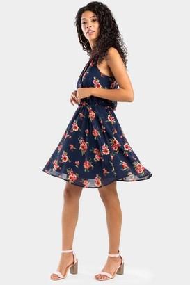 francesca's Braxton Floral Flawless Dress - Navy