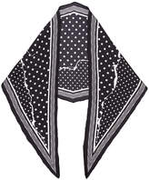 Haider Ackermann Black Polka Dot Ripped Effect Silk Scarf
