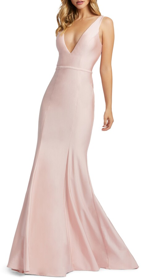 Mac Duggal Plunge Neck Lace-Up Back Gown
