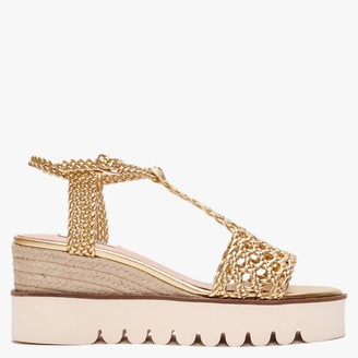 Bibi Lou Budworth Gold Woven Wedge Sandals