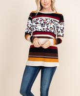 Celeste Women's Tunics BURG - Burgundy & Brown Leopard Print Stripe Tunic - Women & Plus