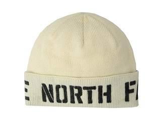 The North Face TNF Felted Logo Beanie (Vintage White/TNF Black) Beanies