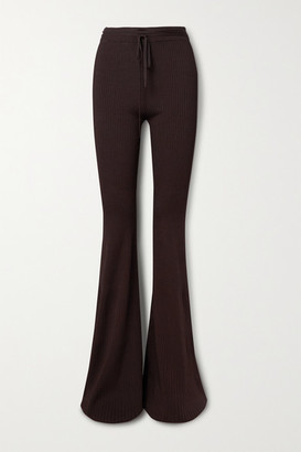 Peter Do Ribbed-knit Flared Pants - Chocolate