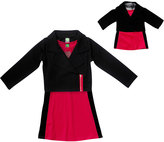 Dollie & Me Fuchsia & Black Moto Jacket Set & Doll Outfit - Girls