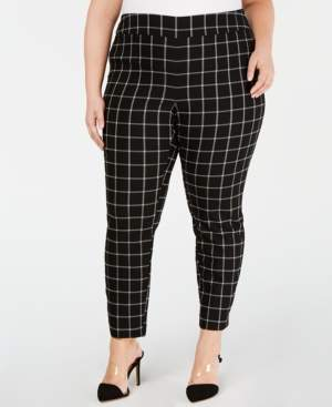 INC International Concepts Inc Plus Size Windowpane-Print Skinny Pants, Created for Macy's