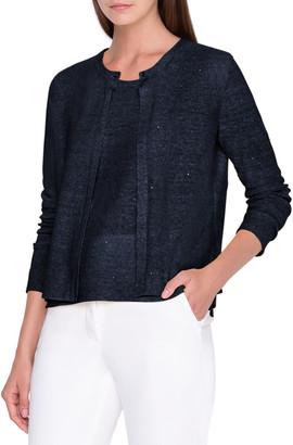 Akris Sequin Linen-Cotton Cardigan