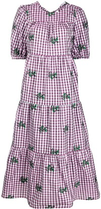 RED Valentino May Lily-motif gingham flared dress