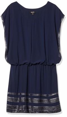 SL Fashions Women's Blouson-top Foil-Trimmed Dress