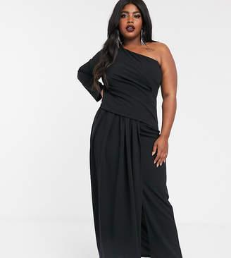 TFNC Plus Plus one shoulder maxi dress in black