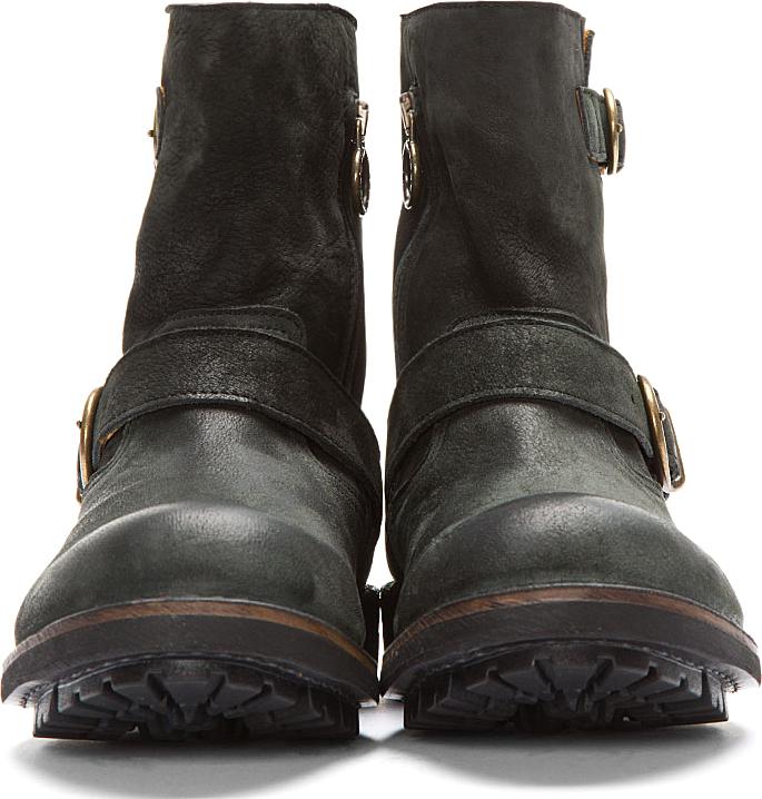 Fiorentini+Baker Black Leather & Nubuck Buckled Jack Jed Boots