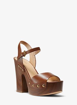 Michael Kors Leonor Leather Platform Sandal