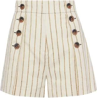 Derek Lam 10 Crosby Button-embellished Striped Twill Shorts
