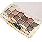 Kwok Eyeshadow,12 Colors Women Pro Eyeshadow Shimmer Palette & Cosmetic Brush Makeup Set (E)