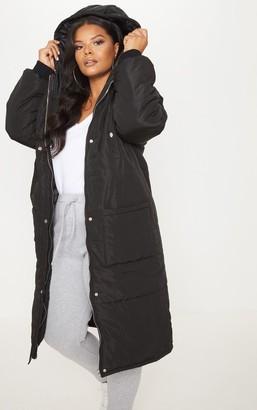 4fashion Plus Black Longline Puffer Coat